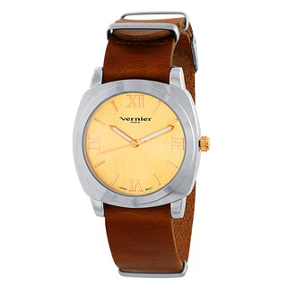 Vernier Paris Women's Genuine Tan Brown Leather Campus Sleeve Watch