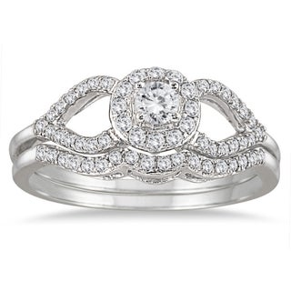Marquee Jewels 10k White Gold 2/5ct White Diamond Antique-style Bridal Ring Set (3 options available)