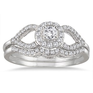 Marquee Jewels 10k White Gold 2/5ct White Diamond Antique-style Bridal Ring Set (I-J, I1-I2)