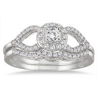 Marquee Jewels 10k White Gold 2/5ct White Diamond Antique-style Bridal Ring Set