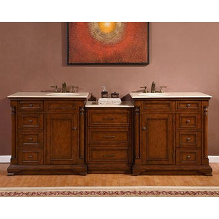 Silkroad Exclusive 92-inch Creamy Marble Counter Top Bathroom Double Sink Vanity