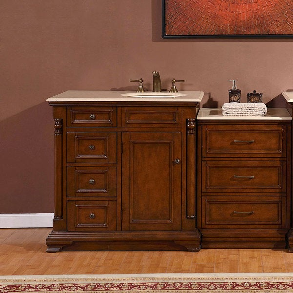 Silkroad Exclusive 57-inch Creamy Marble Counter Top Bathroom Single Vanity Cabinet (Right Sink)