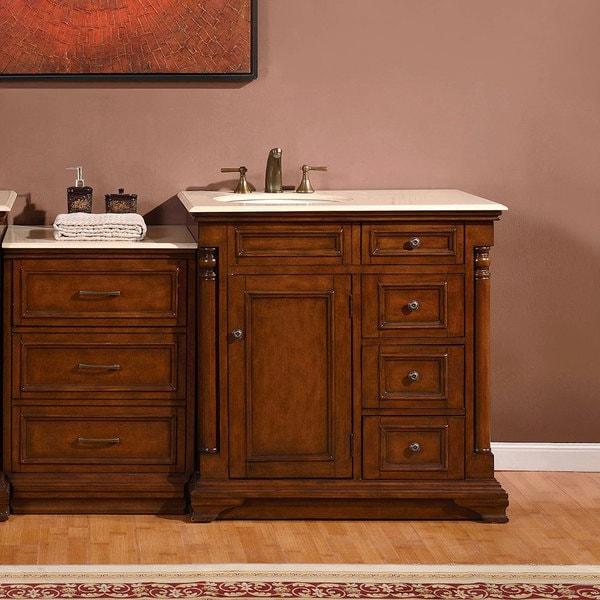 Silkroad Exclusive 57 Inch Creamy Marble Counter Top Bathroom Single Vanity Cabinet Left Sink