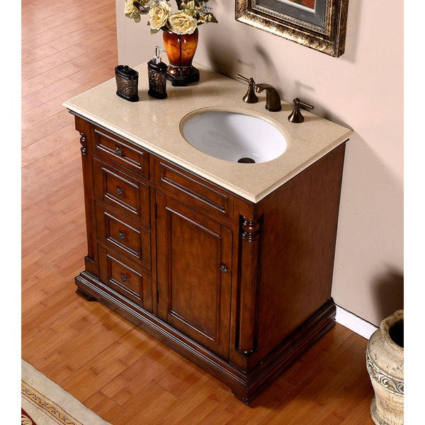 exclusive 36 inch crema marfil marble top bathroom vanity right sink