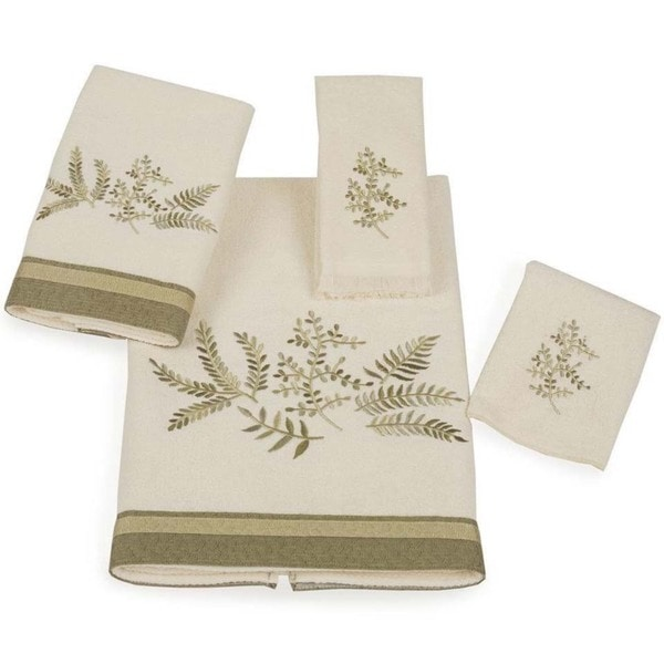 Avanti Greenwood Embellished Leaves 4-piece Towel Set