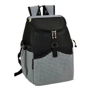 Picnic at Ascot Black and White Houndstooth Backpack Cooler