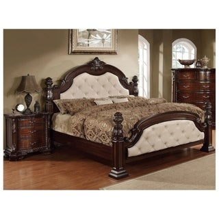 Furniture Of America Kassania Luxury 2 Piece Leatherette Bed With Nightstand Set