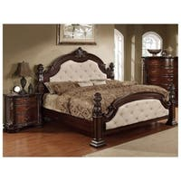 Furniture of America Kassania Luxury 2-piece Leatherette Bed with Nightstand Set