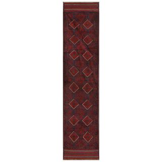 Herat Oriental Afghan Hand-knotted Tribal Balouchi Navy/ Red Wool Rug (1'10 x 8'9)