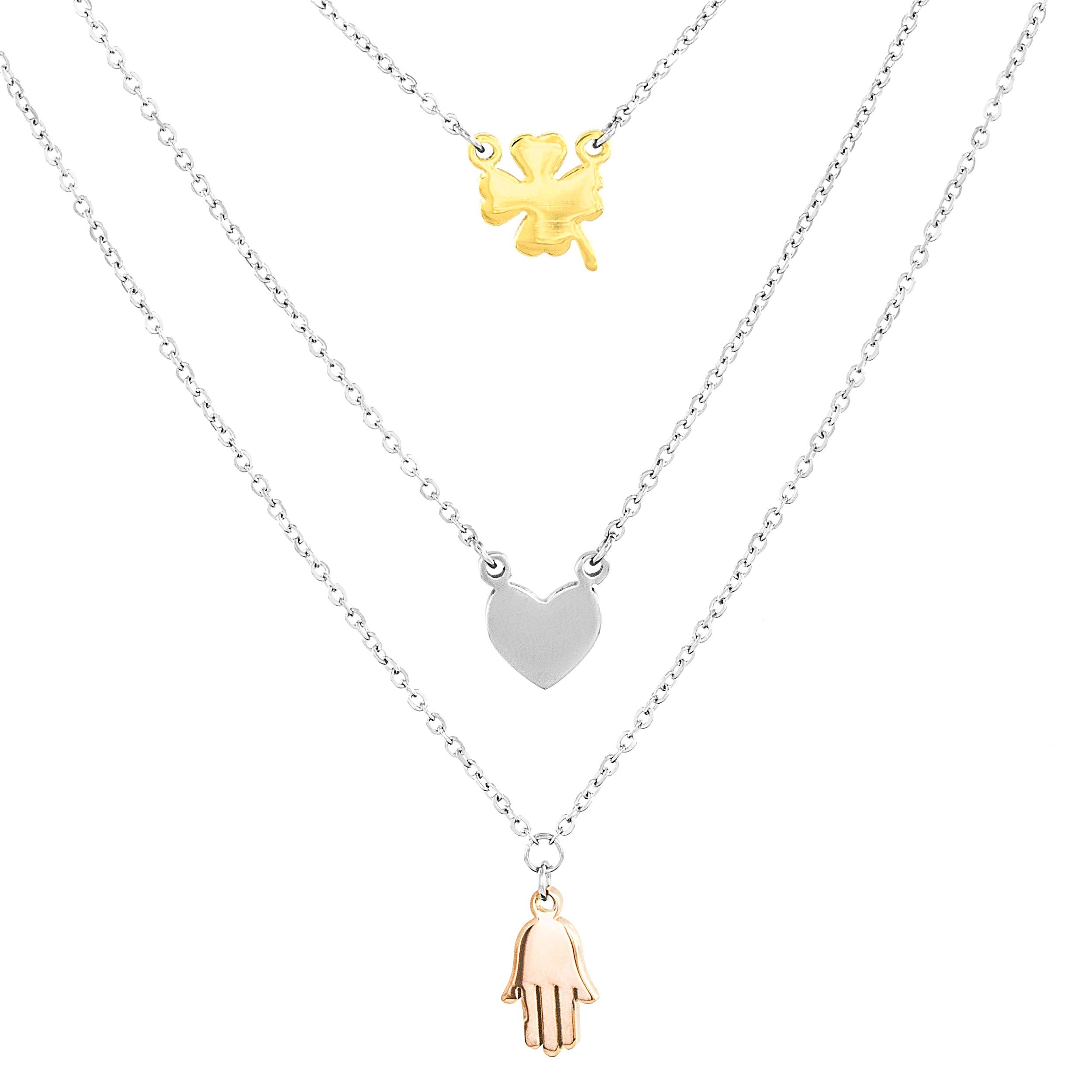 West Coast Elya Stainless Steel Clover, Heart and Hamsa L...