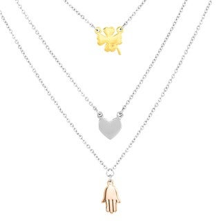 ELYA Stainless Steel Clover, Heart and Hamsa Layered Charm Necklace|https://ak1.ostkcdn.com/images/products/9169648/P16346623.jpg?_ostk_perf_=percv&impolicy=medium
