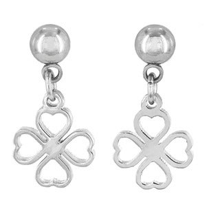 Elya Stainless Steel Lucky Clover Dangling Earrings