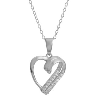 Fremada Rhodium Plated Sterling Silver Cubic Zirconia Heart Necklace 18 Inch
