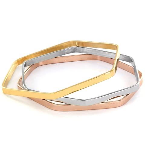 Elya Stainless Steel Tri-Color Hexagon Bangle Bracelet Set (Set of 3)