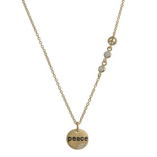 Fremada Gold Over Silver Cubic Zirconia Round Disc Peace Necklace (18 inch)