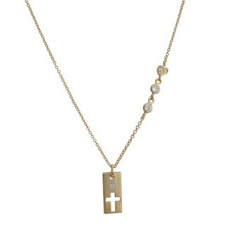 Fremada Gold Over Silver Cubic Zirconia Rectangle With Cut-out Cross Necklace (18 inch)