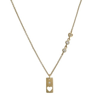 Fremada Gold Over Silver Cubic Zirconia Rectangle With Cut-Out Heart Necklace (18 inch)