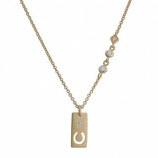 Fremada Gold Over Silver Cubic Zirconia Rectangle With Cut-Out Horseshoe Necklace (18 inch)