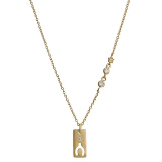 Fremada Gold Over Silver Cubic Zirconia Rectangle With Cut-Out Wishbone Necklace (18 inch)