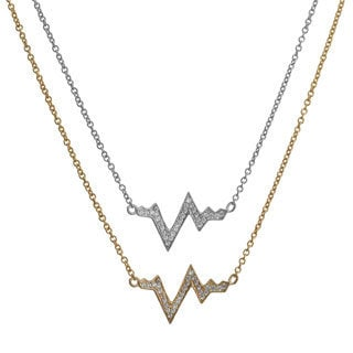 Fremada Gold Over Sterling Silver Cubic Zirconia Life Line Necklace