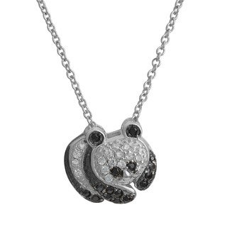 Fremada Rhodium Plated Sterling Silver Cubic Zirconia Panda Bear Necklace (18 inch)