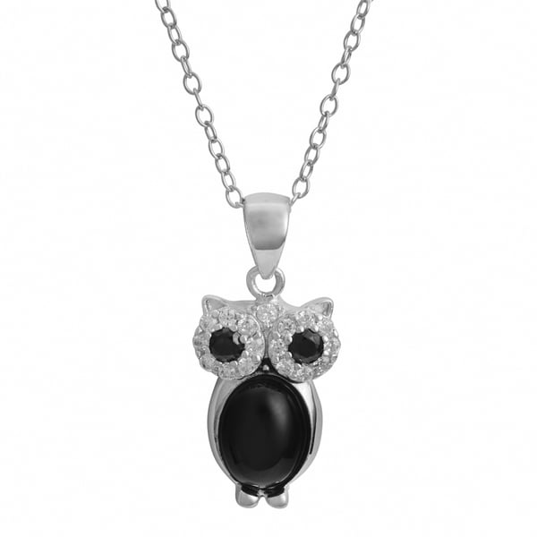 Fremada Rhodium Plated Sterling Silver Black Onyx and Cubic Zirconia Owl Necklace (18 inch)