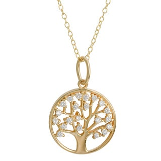 Fremada Gold Over Sterling Silver Cubic Zirconia Tree of Life Necklace (18 inch)