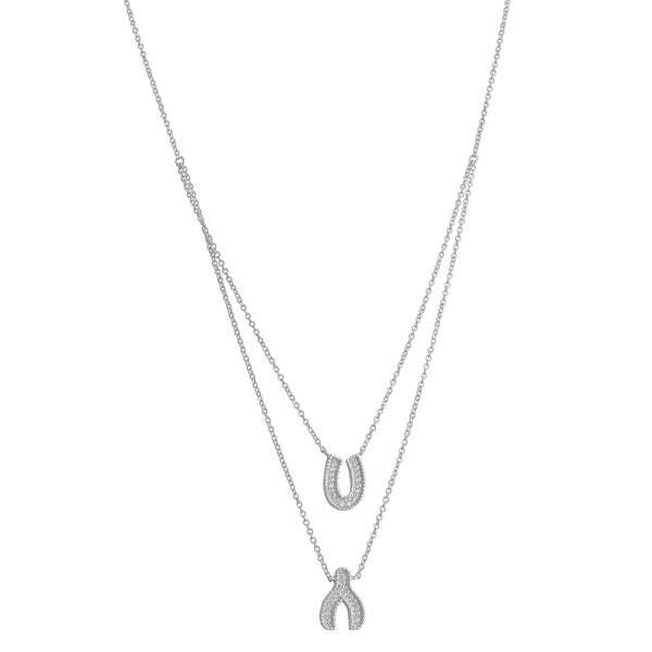 Fremada Sterling Silver Cubic Zirconia Wishbone and Horseshoe Charm Layered Necklace (16 inch)