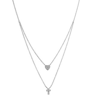 Fremada Sterling Silver Cubic Zirconia Heart and Cross Charm Layered Necklace (16 inch)