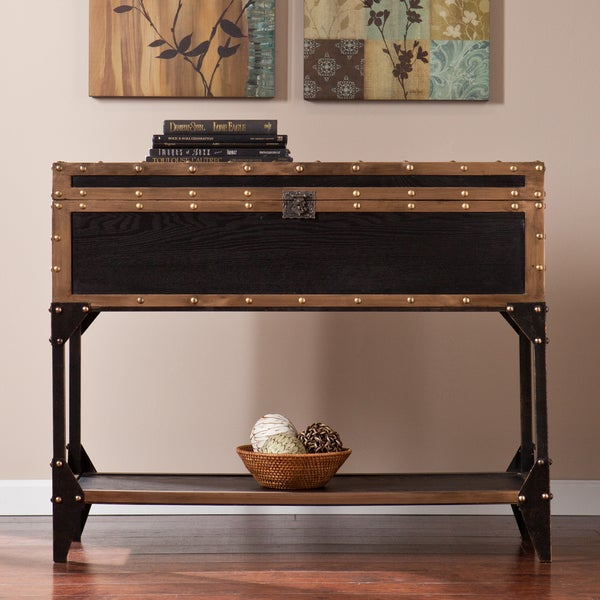 The Curated Nomad Azul Travel Trunk Console/ Sofa Table