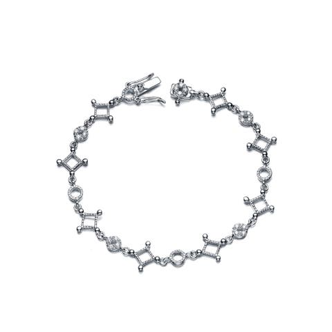 Collette Z Sterling Silver Cubic Zirconia Square and Circle Shape Bracelet