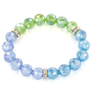 Multi-colored Faceted Glass and Crystal Stretch Bracelet
