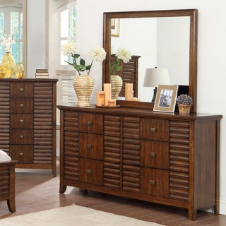 Furniture of America Tyrenia Walnut 2-Piece Dresser and Mirror Set