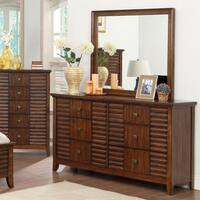 Furniture of America Tyrenia Walnut 2-Piece Dresser and Mirror Set