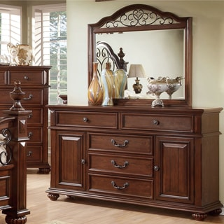 Furniture of America Barath 2-piece Antique Dark Oak Dresser and Mirror Set