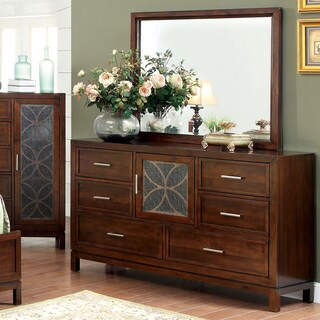 Furniture of America Petalia 2-Piece Brown Cherry Dresser and Mirror Set
