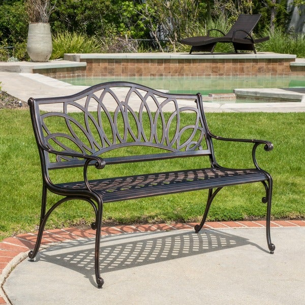 Shop Virginia Outdoor Cast Aluminum Bench By Christopher Knight Home