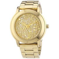DKNY Women's  Gold-Tone Crystal Pave Watch