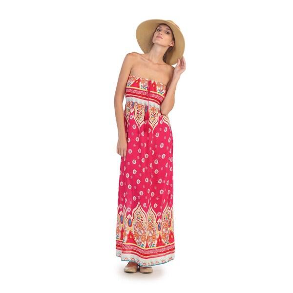 Hadari Women's Pink Floral Pattern Strapless Maxi Dress