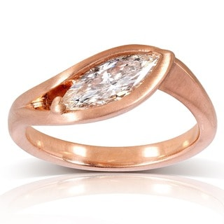 Annello by Kobelli 14k Rose Gold 1ct TDW Certified Marquise Diamond Ring