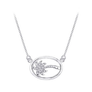 Sterling Silver 1/10ct TDW Diamond Palm Tree Necklace (G-H, I2-I3)