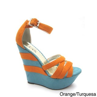 Luvs Women's 'Sophia' Two-tone Sandal Wedges