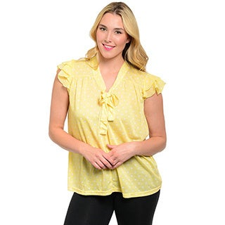 Shop The Trends Women's Plus Layered Polka Dot Flutter Sleeve Top