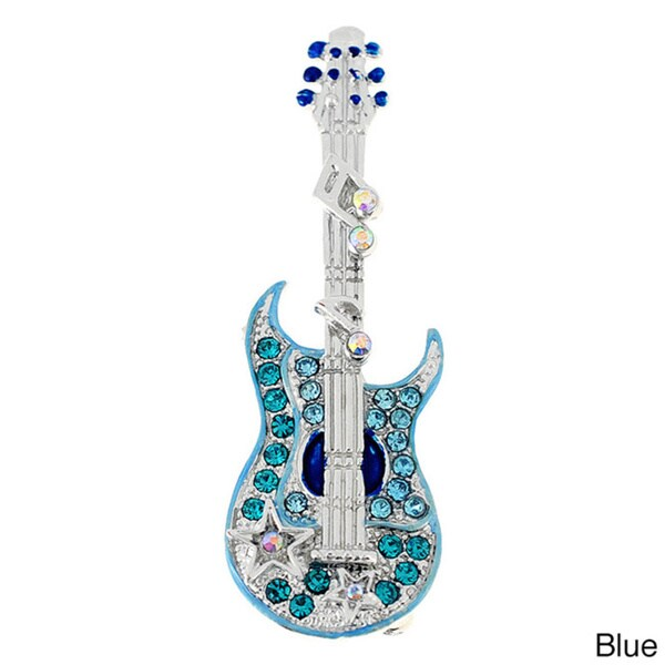 Guitar with Music Note Pin Brooch
