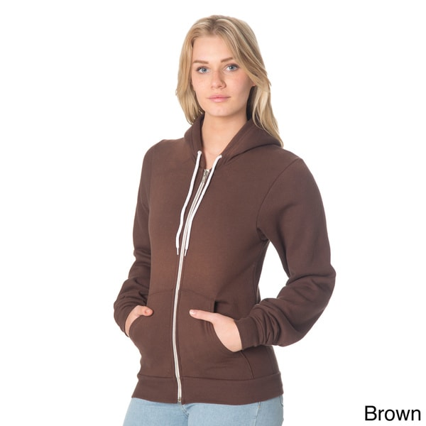American Apparel F497 Unisex Flex Fleece Zip Hoodie XX-Large 1 White 1 Brown