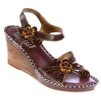 Spring Step Women's 'L'Artiste' Leather Floral-trim Wedge Sandals