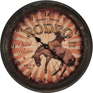 "River's Edge 15"" Rusty Metal Clock - Rodeo Horse"
