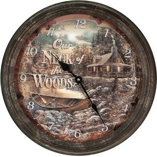 "River's Edge 15"" Rusty Metal Clock - Cabin Scene"