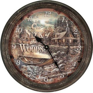 "River's Edge 15"" Rusty Metal Clock - Cabin Scene