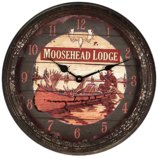 "River's Edge 15""  Rusty Metal Clock - Moosehead"